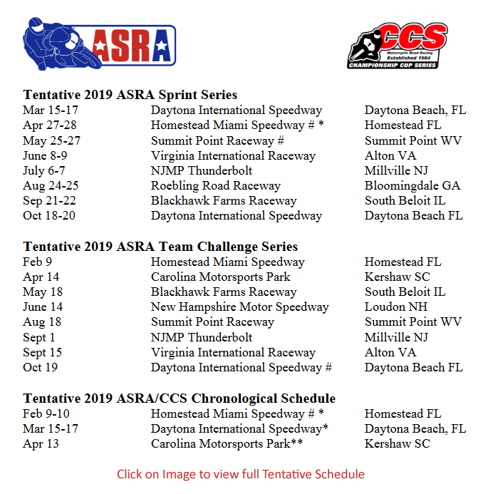 ASRA 2019 Tentative Schedule